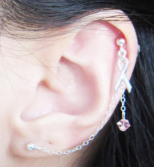 Sterling Silver Pink Ribbon Cartilage Double Piercing