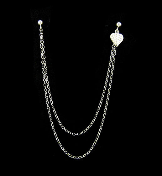Sterling Silver Leaf Extra Long Double Chain Cartilage Double Piercing