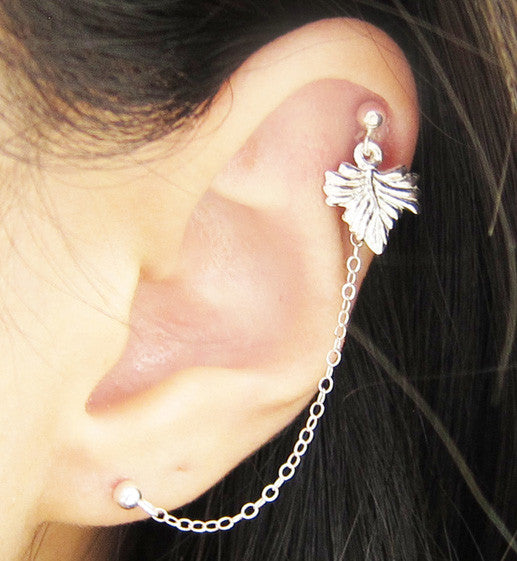 Sterling Silver Large Leaf Cartilage Double Piercing