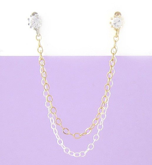 Cubic Zirconia Sterling Silver and Gold Double Chain Cartilage Double Piercing