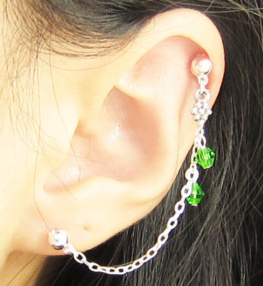 Green Grape Vine Cartilage Double Piercing