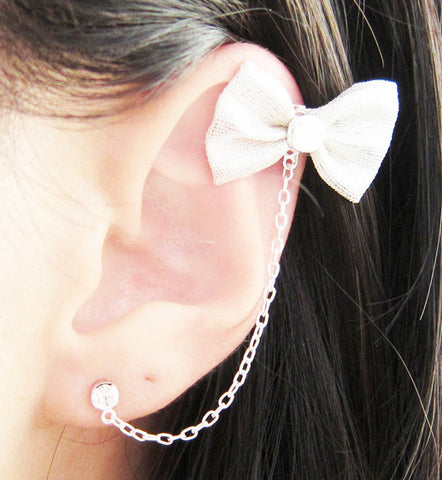 Extra Large Silver Bow Cartilage Double Piercing