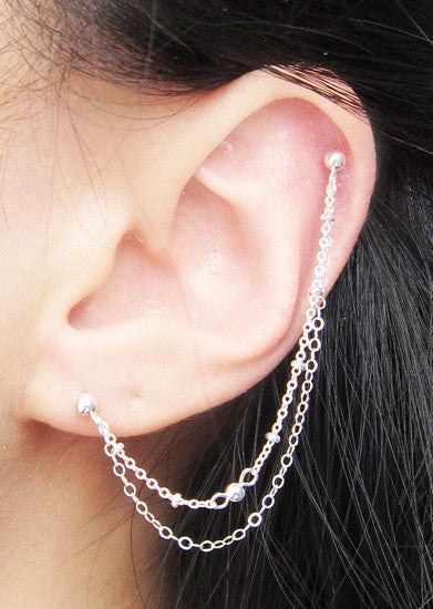 Sterling Silver Nugget Chain Cartilage Double Piercing