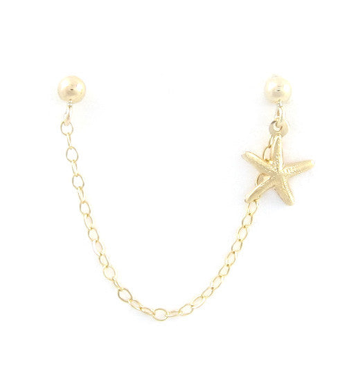 Gold Filled Single Starfish Cartilage Double Piercing