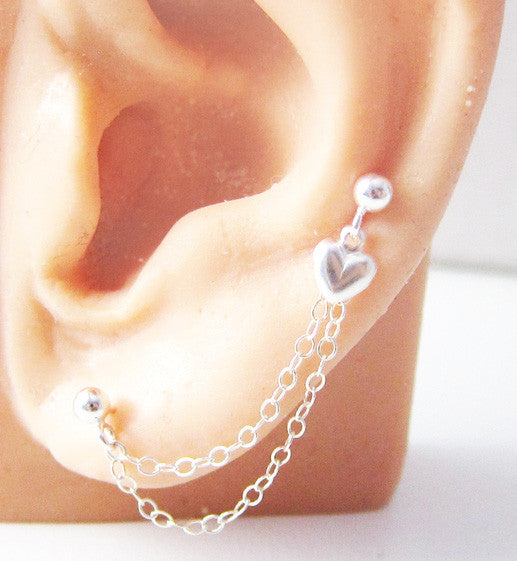 Sterling Silver Heart Short Double Chains Double Piercing