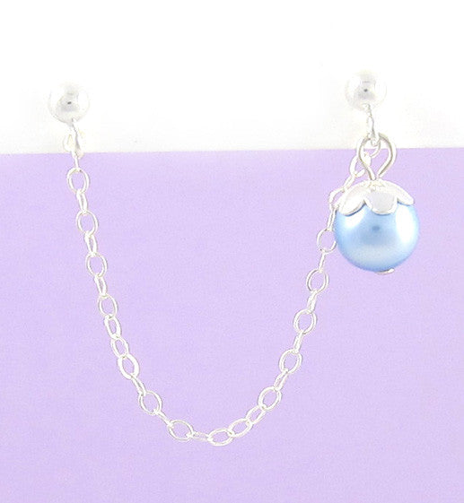 Sterling Silver Swarovski Pearl Blue Cartilage Double Piercing