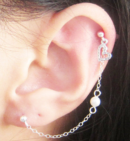 Sterling Silver Heart Pearl Cartilage Double Piercing