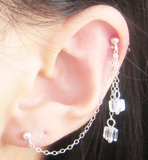Sterling Silver Swarovski Cube Dangle Cartilage Double Piercing