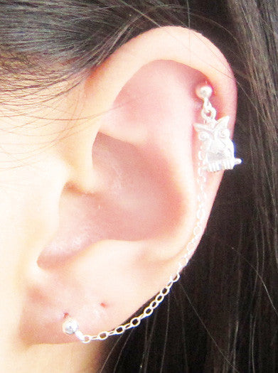 Sterling Silver Single Owl Cartilage Double Piercing