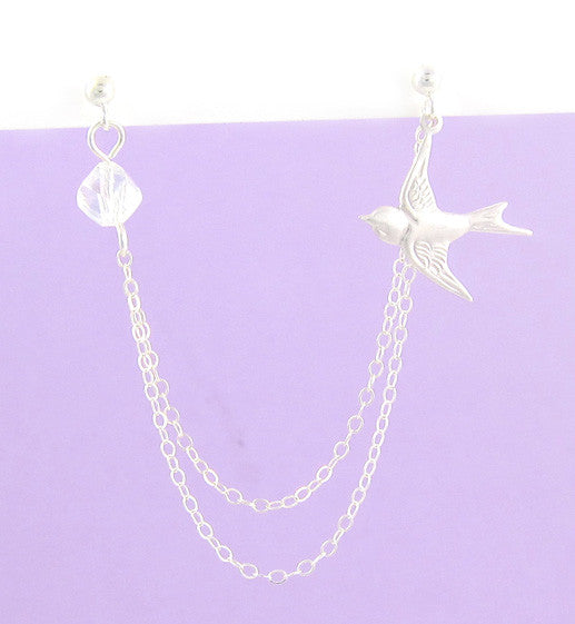 Sterling Silver Dove Swarovski Crystals Double Piercing