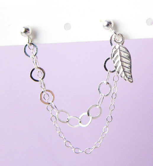 Sterling Silver Leaf Double Chain Double Piercing