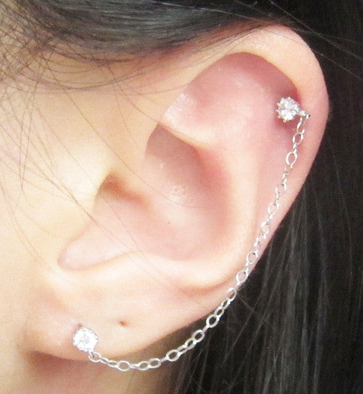 Rhodium Sterling Silver Cubic Zirconia Double Piercing