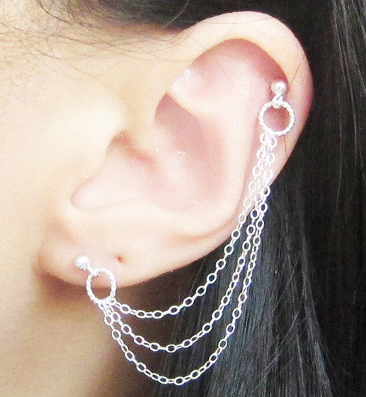 Sterling Silver Swirl Triple Chain Double Piercing
