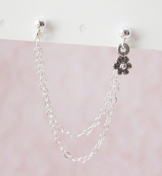 Sterling Silver Flower Double Chain Double Piercing