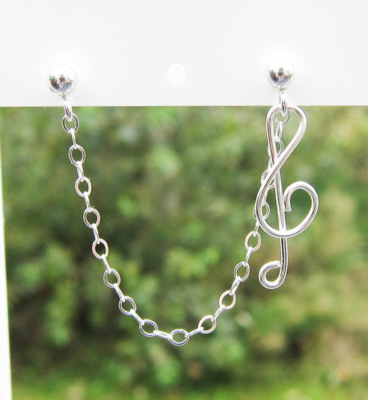 Sterling Silver Single Treble Clef Cartilage Double Piercing