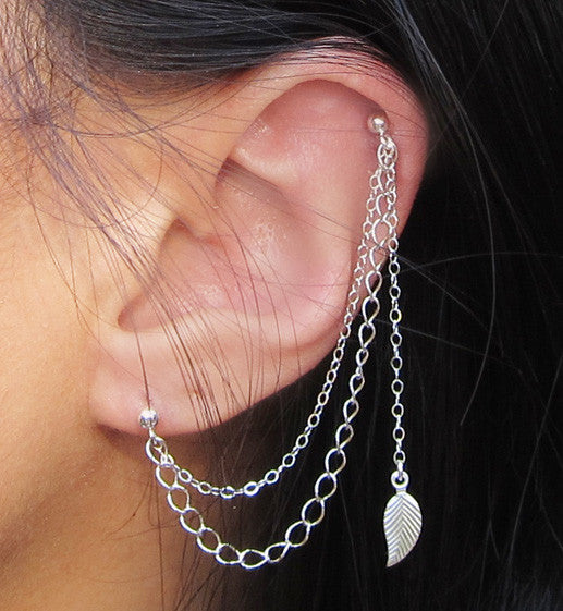Sterling Silver Long Leaf Double Chain Double Piercing
