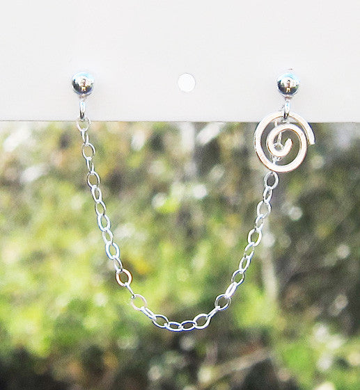 Sterling Silver Single Swirl Double Piercing