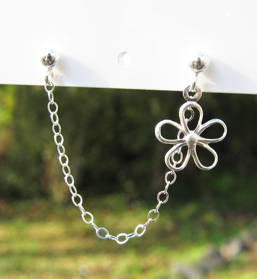 Sterling Silver Single Flower Double Piercing