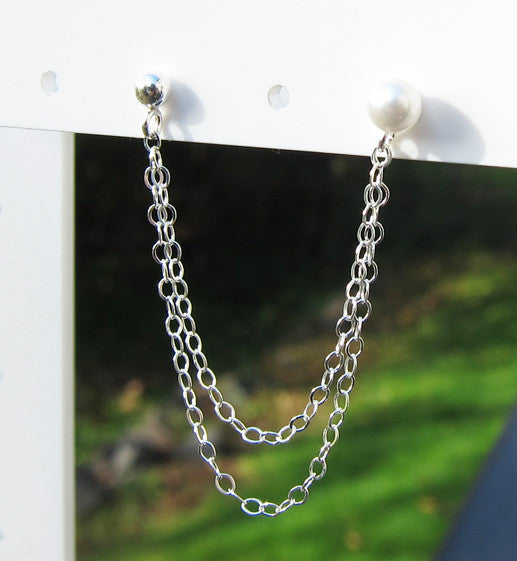 Sterling Silver Pearl Stud Double Chain Double Piercing