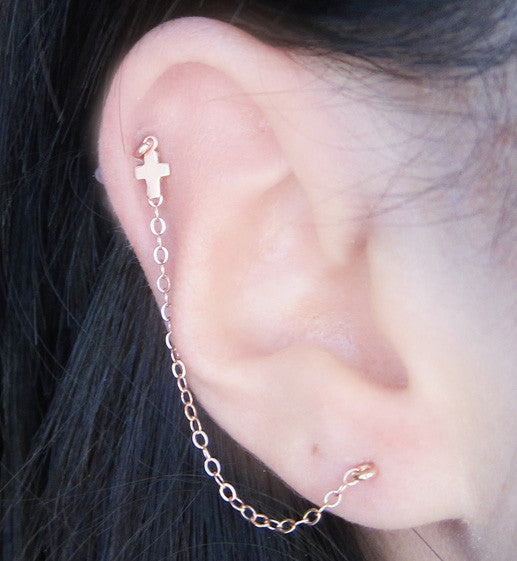 Rose Gold Filled Single Cross Double Piercing