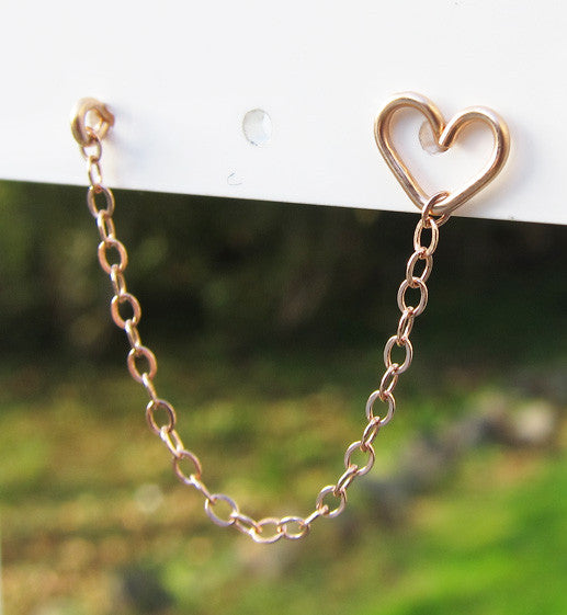 Rose Gold Filled Heart Stud Double Piercing