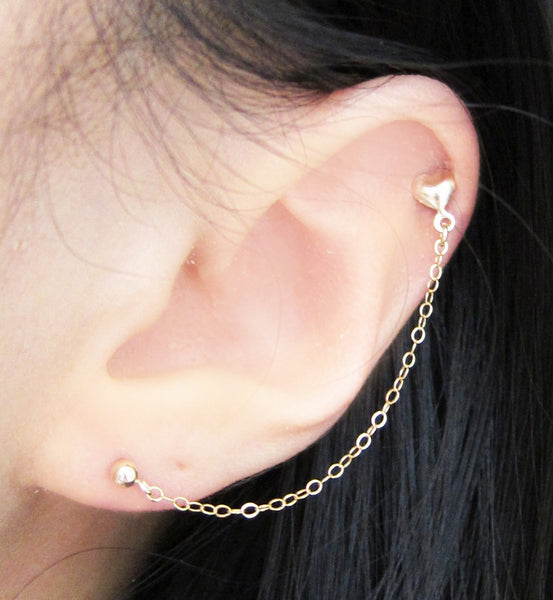 Gold Filled Heart Stud Cartilage Double Piercing