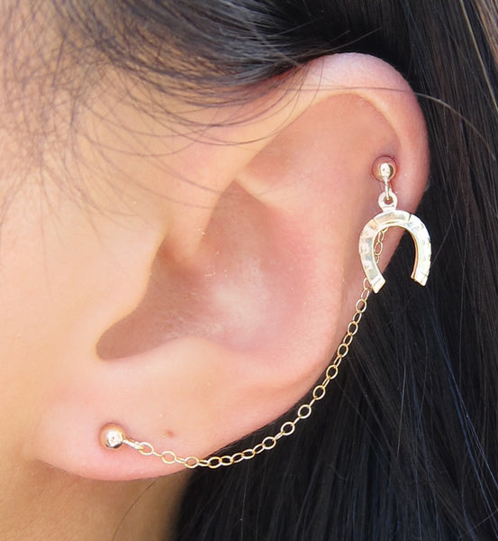 Gold Filled Single Horse Shoe Cartilage Double Piercing