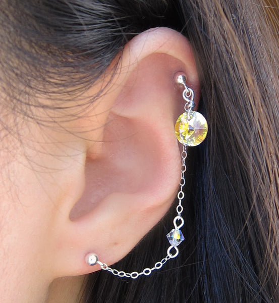 Sterling Silver Round Swarovski Crystal Link Double Piercing