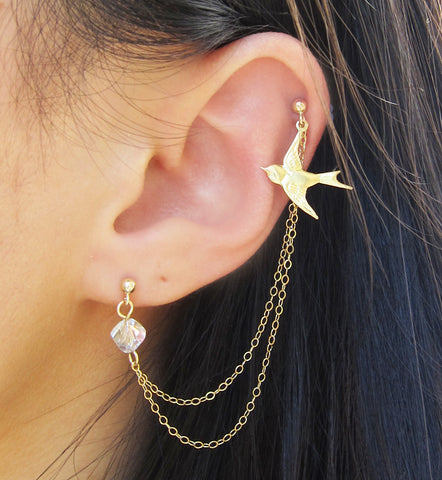 Gold Filled Dove Swarovski Crystal Double Chain Double Piercing
