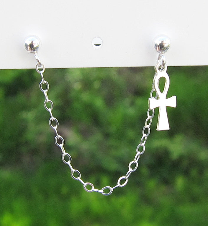 Sterling Silver Key of Life Ankh Double Piercing