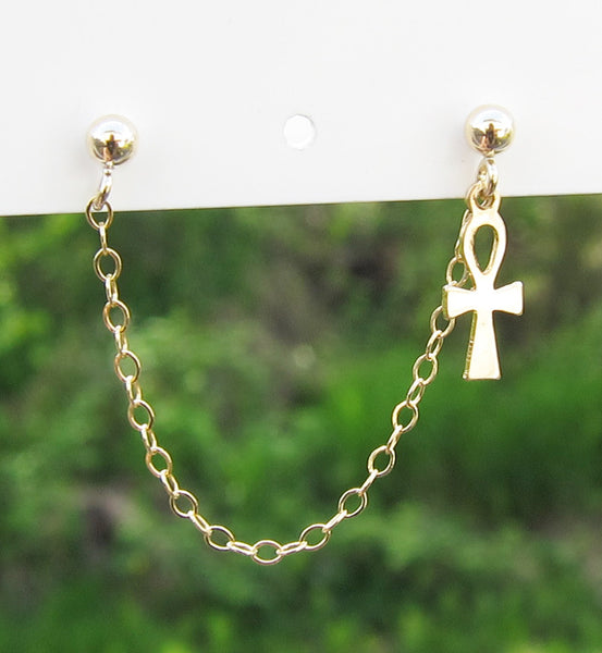 Gold Filled Key of Life Ankh Double Piercing