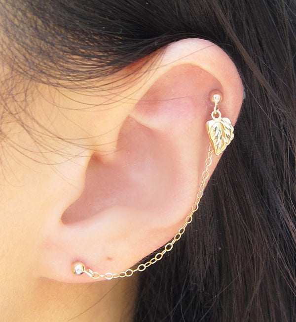 Gold Filled Single Tree Leaf Double Piercing