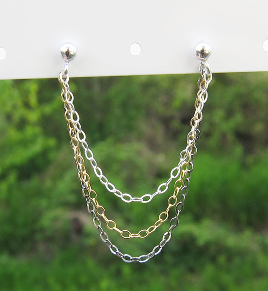 Sterling Silver, Gold Filled, Oxidized Triple Chain Double Piercing