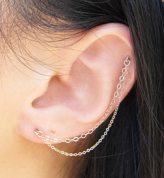 Rose Gold Filled Double Chain Cartilage Double Piercing