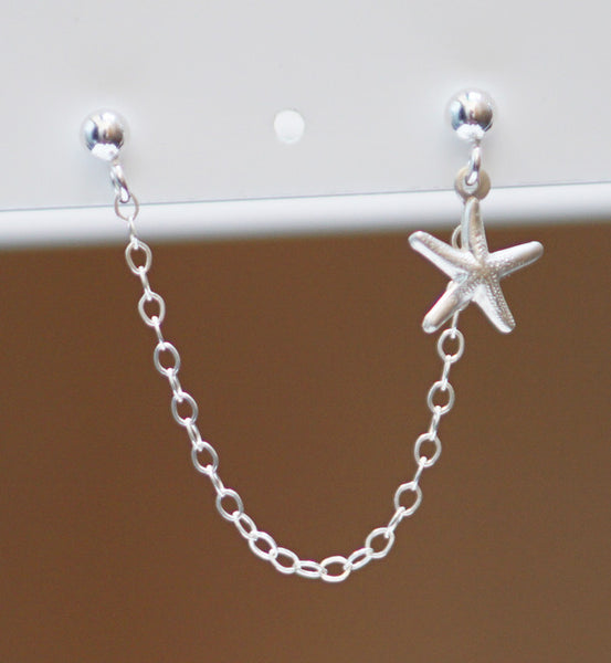 Sterling Silver Cute Starfish Double Piercing