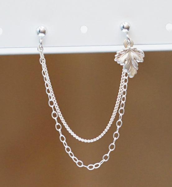 Sterling Silver Fall Leaf Double Chain Double Piercing