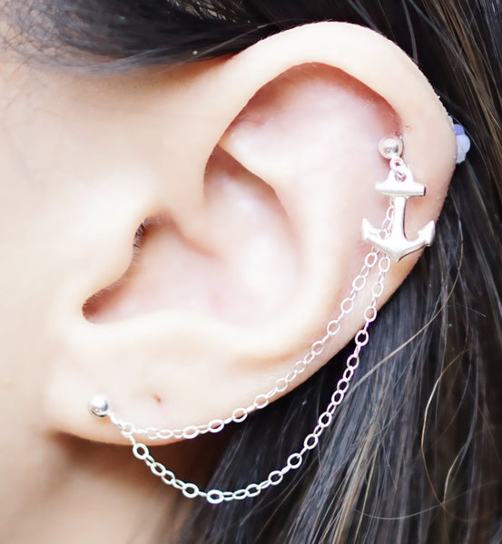 Sterling Silver Anchor Double Chain Double Piercing