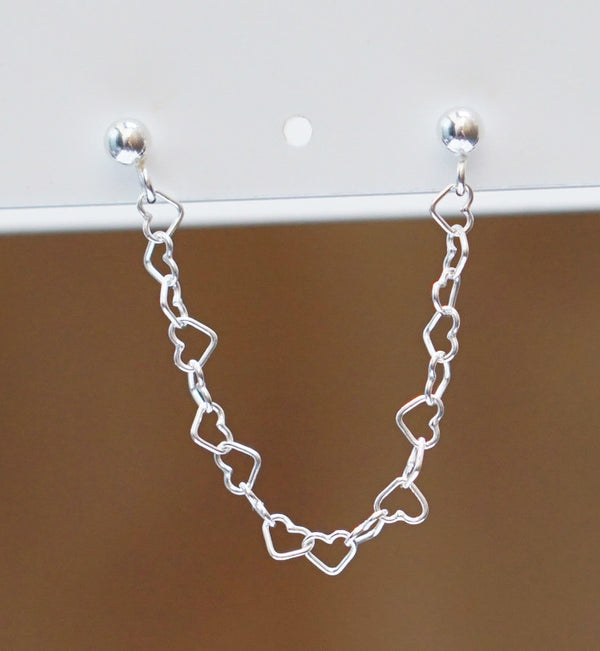 Sterling Silver Heart Chain Double Piercing