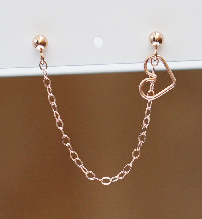 Rose Gold Filled Plain Heart Double Piercing