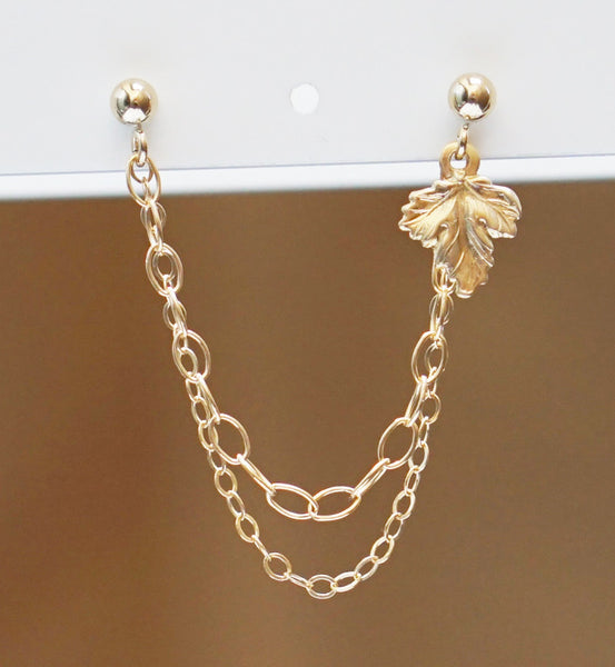 Gold Filled Fall Leaf Double Chain Double Piercing