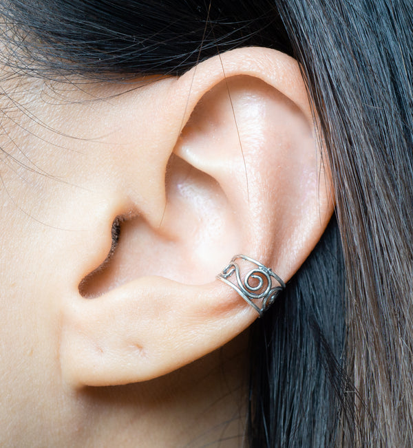 Sterling Silver Swirly Wire Ear Cuff