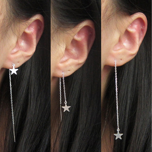 Sterling Silver Star Threader Earring