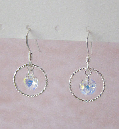 Sterling Silver Swarovski Crystal Circle Earring