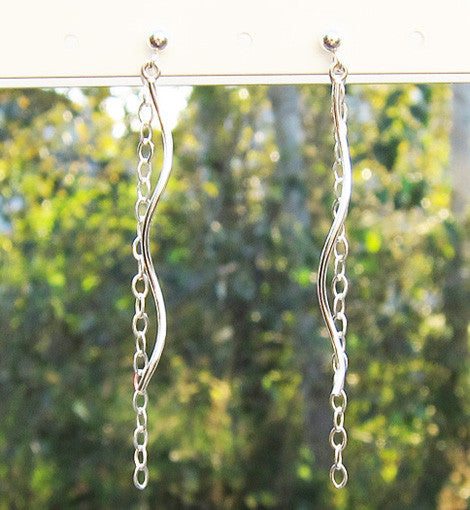 Sterling Silver Swirly Dangle Earrings