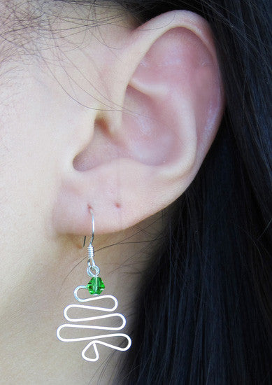 Sterling Silver Swarovski Crystal Tree Earring