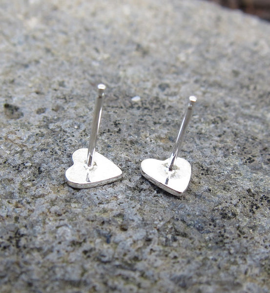 Sterling Silver Solid Heart Studs
