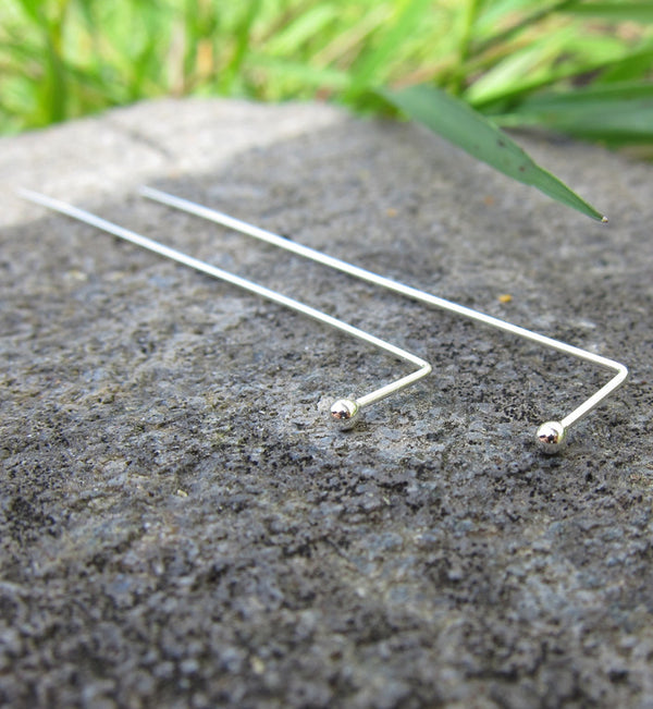 Sterling Silver Extra Long Thread Ball Earring