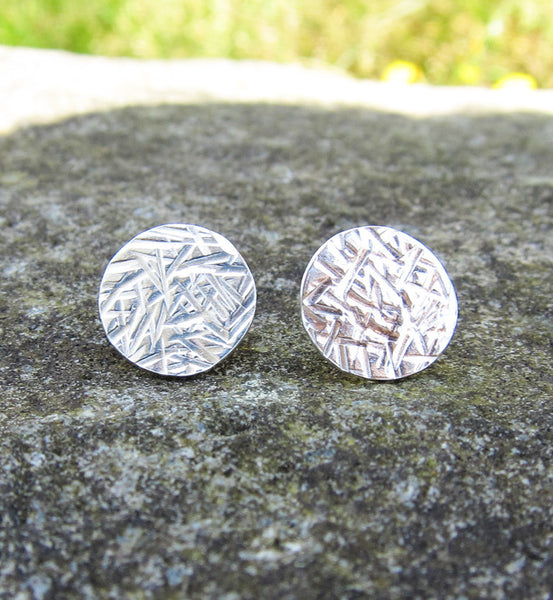 Sterling Silver Large Hammered Circle Earring