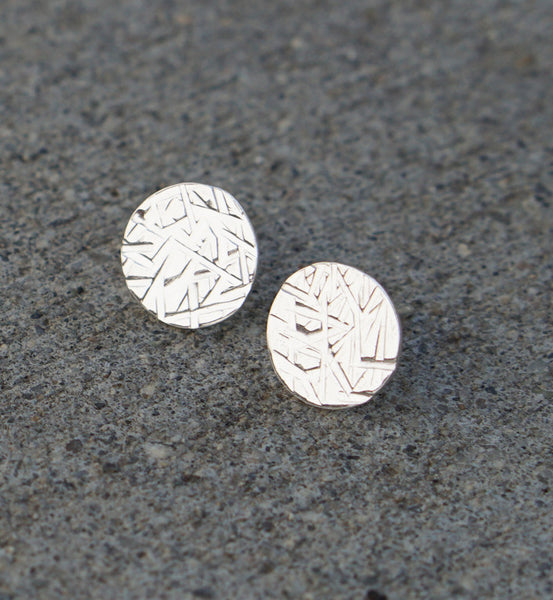 Sterling Silver Medium Hammered Circle Earring