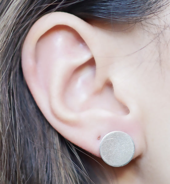 Sterling Silver Large Brushed Circle Earring